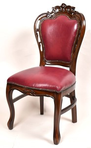 Mahogany Dining Chair Wine Synthetic Leather