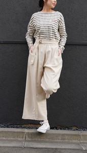 S/S Rayon Canvas Belt Attached Gather Switch Pants