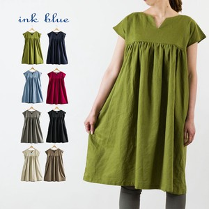 Linen French Sleeve A line One-piece Dress Cotton
