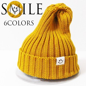 Patch Plain Knitted Cap Cotton