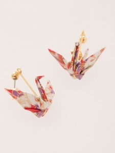 Origami Pierced Earring Folded Paper Crane Bellflower