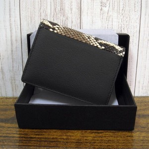 Cow Leather Python Genuine Leather Commuter Pass Holder Fancy Box