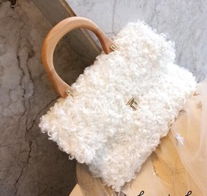 Ring Fur Handbag Fluffy Fur Wood Handle Handbag