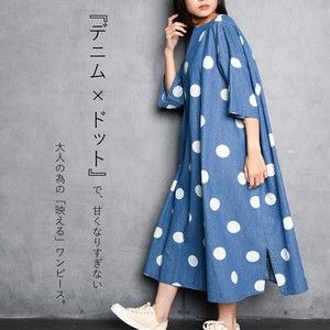 [ 2020NewItem ] Denim Dot One-piece Dress