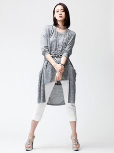 Ensemble Long Cardigan Bijou Attached Tunic