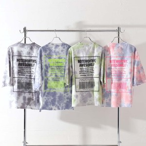 S/S Unisex Pastel Color Dyeing Print Big Short Sleeve T-shirt
