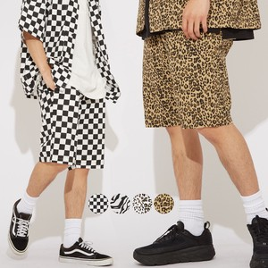 S/S Unisex Repeating Pattern Print Chef Shorts Cock Pants Suit Set