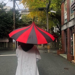 Stripe Circus Tent Umbrella Black Red
