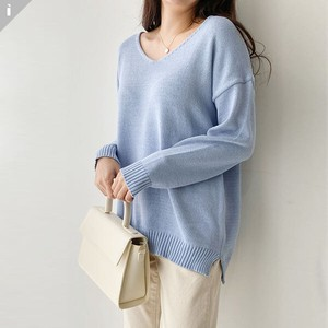 Sweater Knitted V-neck Fit Long Sleeve Knitted