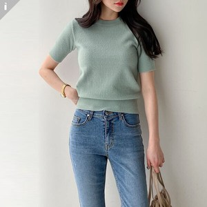 Sweater Knitted Short Sleeve U-neck Fit Knitted