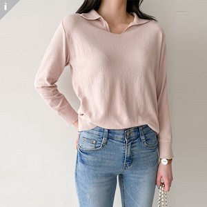 Sweater Knitted Color V-neck Fit Long Sleeve Knitted