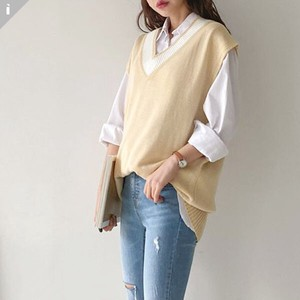 Sweater Knitted Color Scheme V-neck Fit Knitted