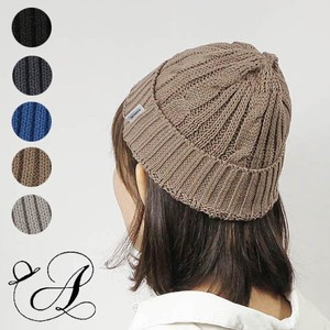 Line Cable Linen Cotton Knitted Hat Cable