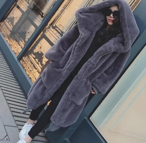Warm With Hood Long Plain Fur Coat Casual Long Sleeve Ladies Fur Jacket