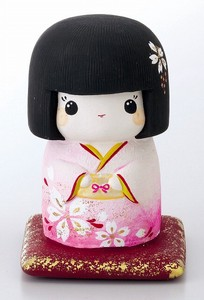 Ornament Kokeshi Piggy Bank Pink