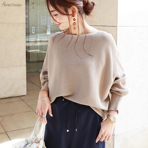 Cotton boat Neck Dolman Knitted Top