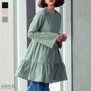 Top Frill Tunic One-piece Dress Body Type Cover Longer Long Sleeve