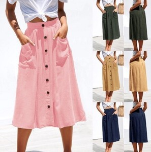 Fashion Casual Ladies Skirt High-waisted Single Button Skirt