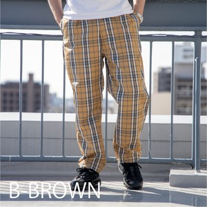 [ 2020NewItem ] Checkered Pants Men's Wide Tapered Club Tartan Pants Tuck