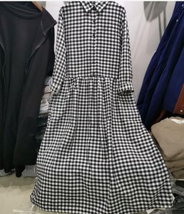Cotton Long Checkered One-piece Dress