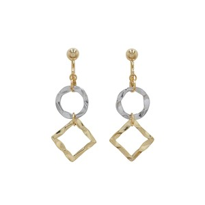 [ 2020NewItem ] Circle Square Two Tone Color Metal Earring