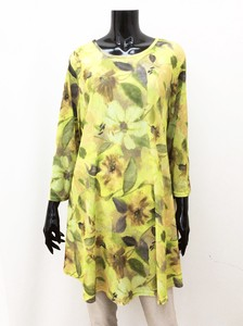 Flower Print Pearskin Finish Line Tunic