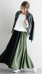 Bi-Color Flare Long Skirt