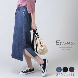 Reinforcement [ 2020NewItem ] Denim Skirt Behind Long Tuck