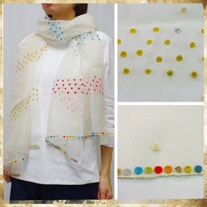 [ 2020NewItem ] Stole Multi-Color Dot Embroidery Silk Dot Embroidery Stole