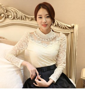 Ladies Pearl Decoration Lace Shirt