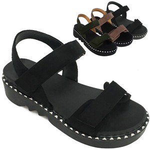 Sandal Suede Objects and Ornaments Ornament Black Sandal Flat
