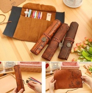 Treasure Map Roll Vintage Leather Make Up Makeup Product Bag Case Wallet Pouch Pencil Case