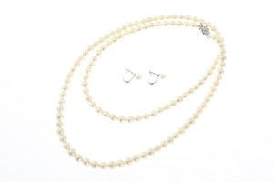 Pearl Opera Necklace Earring Set