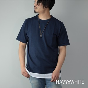 Short Sleeve T-shirt Men's Soccer Good Necklace Attached Crew Neck Pocket Fake Layard