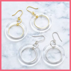 Clear Metal Pierced Earring