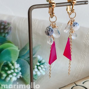 Natural stone Pink Chalcedony Dry Opal Earring