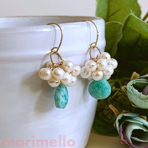 Natural stone Freshwater Pearl Amazonite Pierced Earring