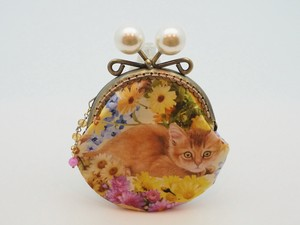 Feeling Coin Purse Pouch Coin Case Base Flower Cat