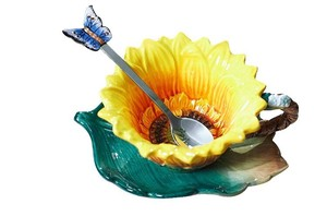 Sunflower Tea Cup Saucer Set Coffee Cup Interior Gift Present