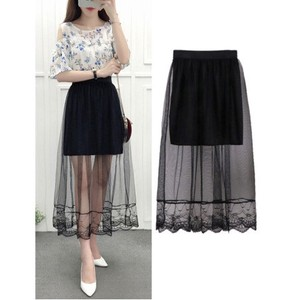 Long Skirt Lace Pleats Mesh