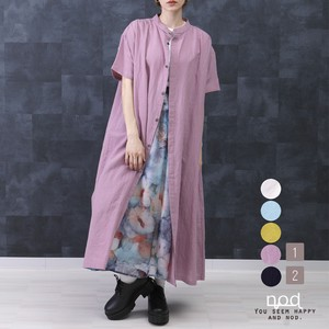 [ 2020NewItem ] Long Shirt One-piece Dress Viscose Non-colored Long S/S