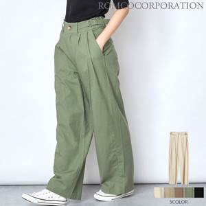 [ 2020NewItem ] Cotton Linen Buckle Tuck wide pants