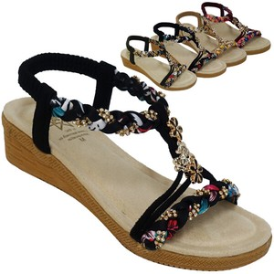 Sandal Colorful Weaving Flower Bijou Attached Sandal