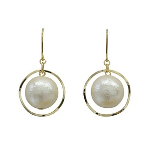 Ring Cotton Pearl Space Image Pierced Earring