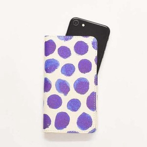 iPhone Case Notebook Type Smartphone Case Dot Ladies Purple