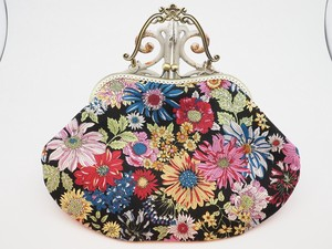 Feeling Coin Purse Bag Base Floral Pattern Black