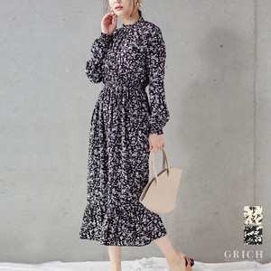 One-piece Dress Frill Long Floral Pattern One-piece Dress Floral Pattern Long Sleeve A/W