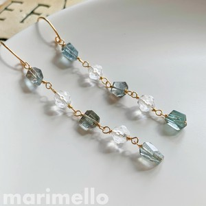Natural stone Aquamarine Crystal Pierced Earring