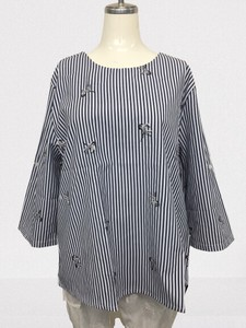[ 2020NewItem ] Zebra Embroidery Stripe Blouse