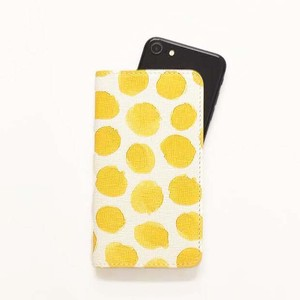 iPhone Case Notebook Type Smartphone Case Dot Ladies Yellow